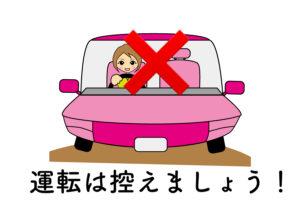 薬を服用後は運転は控えましょう!というイメージのイラスト