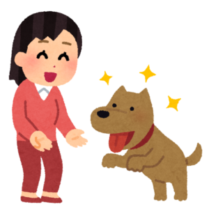 犬とじゃれている私をイメージしたイラスト画像