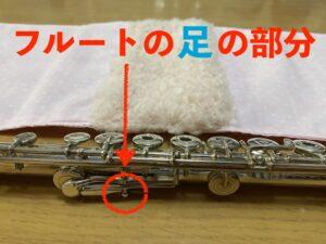 フルートの足の部分にフカフカの布の部分がくるような設計にしたのが分かる画像です。