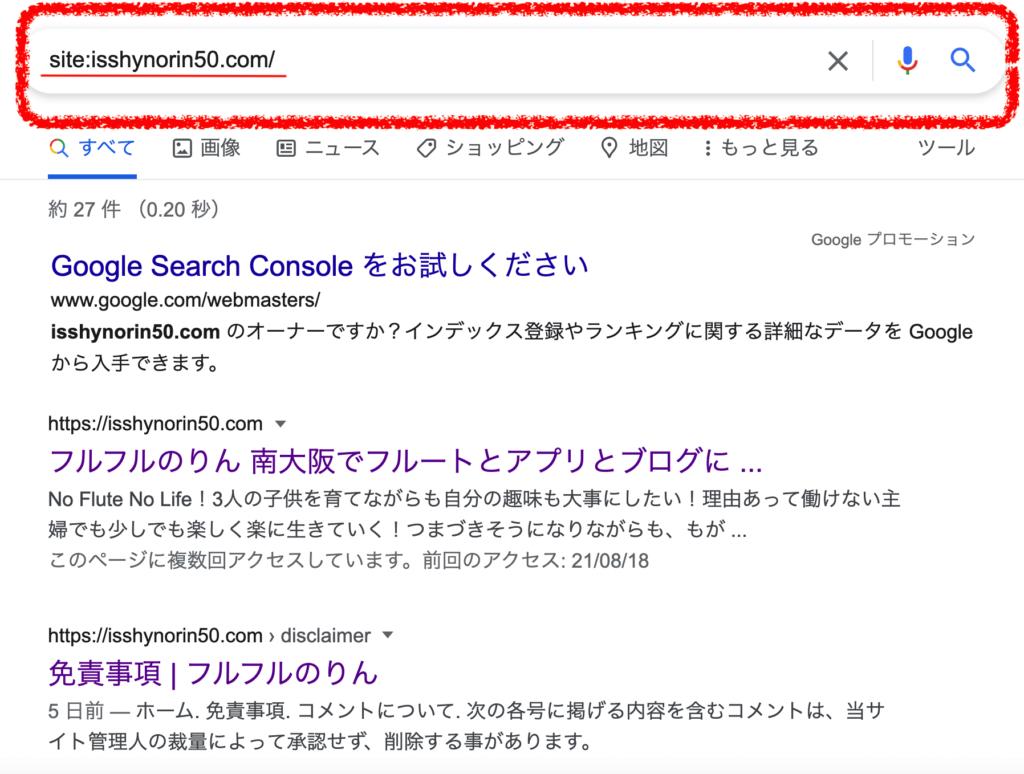グーグルの検索画面で自分のサイトのアドレスを入れる方法を示すスクリーンショット画像