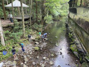 そぶらの森のレストランの小川で子供達が遊んでいる様子の画像